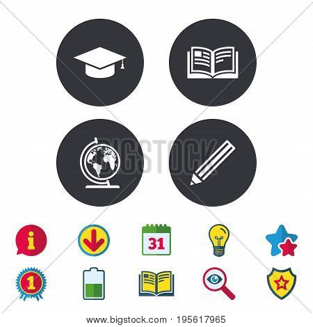 Pencil and open book icons. Graduation cap and geography globe symbols. Education learn signs. Calendar, Information and Download signs. Stars, Award and Book icons. Light bulb, Shield and Search