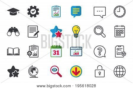 Pencil with document and open book icons. Graduation cap and geography globe symbols. Learn signs. Chat, Report and Calendar signs. Stars, Statistics and Download icons. Question, Clock and Globe