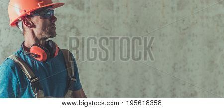 Construction Industry Worker Banner with Right Side Copy Space. Caucasian Contractor in Hard Hat.