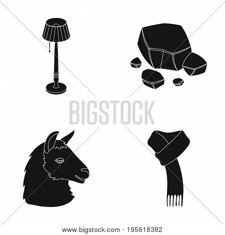 clothing, lighting and or  icon in black style.Coal industry, animal icons in set collection.