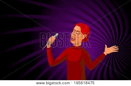 singing young red-haired woman with microphone, cartoon vector