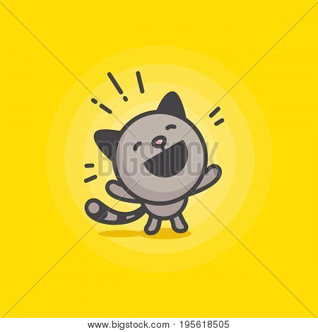 cute happy cat logo on a yellow background. vector illustration