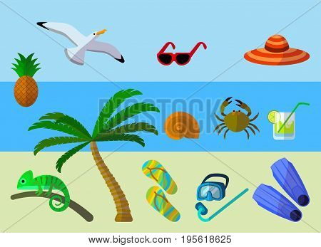 set of flat icons of summer vacation accessories, stock vector