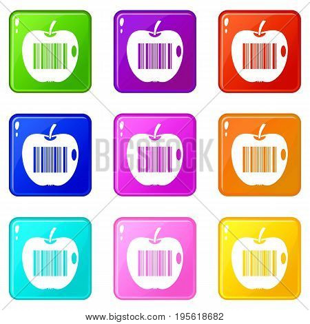 Code to represent product identification icons of 9 color set isolated vector illustration