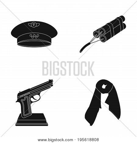 clothes, film and other  icon in black style.maintenance, Mining icons in set collection.