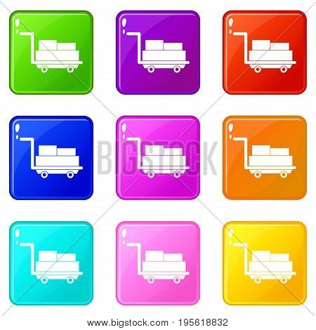 Cart with luggage icons of 9 color set isolated vector illustration