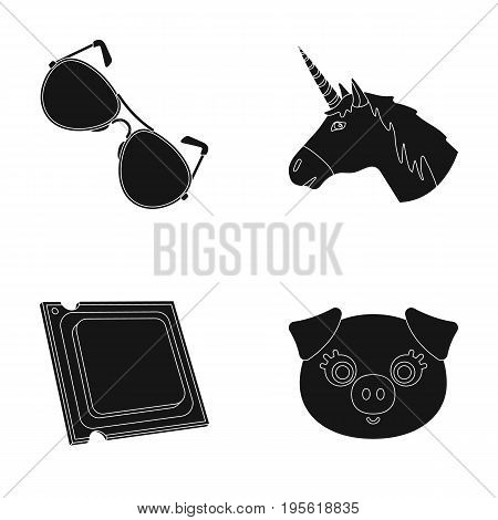 eyelashes, Police and other  icon in black style.computer, myths icons in set collection.