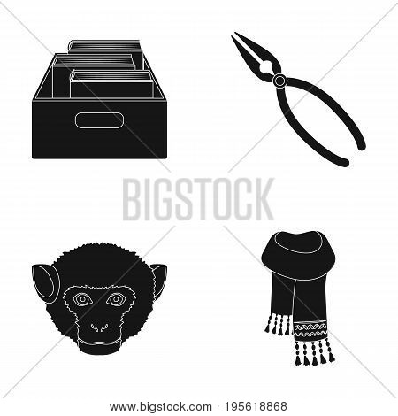 training, animal and other  icon in black style.master, clothing icons in set collection.