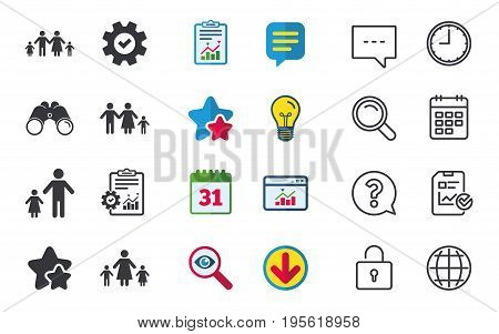 Family with two children icon. Parents and kids symbols. One-parent family signs. Mother and father divorce. Chat, Report and Calendar signs. Stars, Statistics and Download icons. Vector