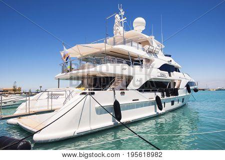 Zakynthos, Greece 19.06.2017    Marina with boats on the bay of