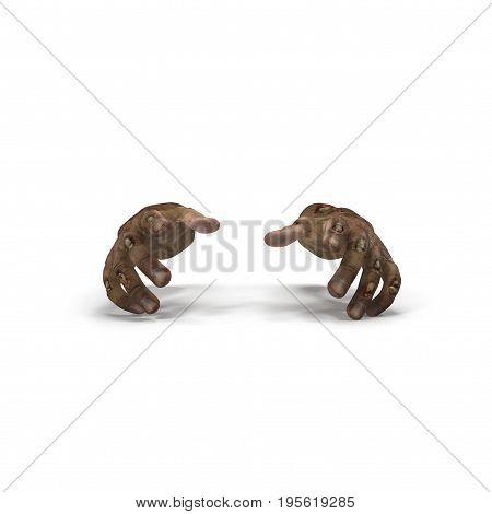 Halloween theme: terrible zombie hand on white background. 3D illustration