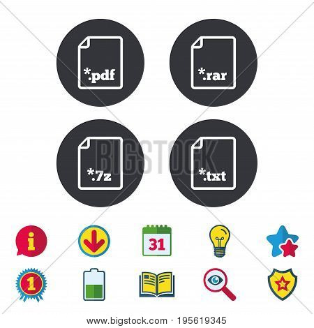 Download document icons. File extensions symbols. PDF, RAR, 7z and TXT signs. Calendar, Information and Download signs. Stars, Award and Book icons. Light bulb, Shield and Search. Vector
