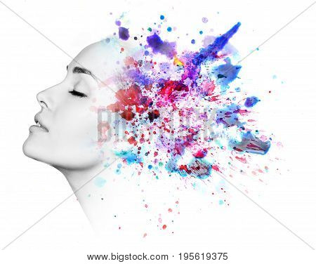 Double exposure portrait of young woman and watercolor paint isolated on white.