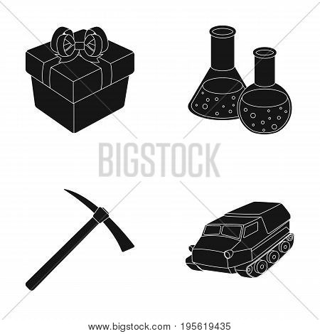 gift, Coal industry and other  icon in black style.education, medicine icons in set collection.