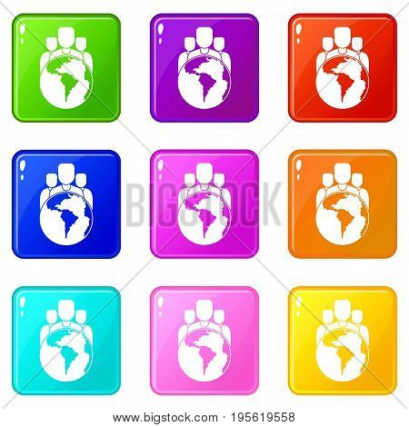 World planet and people icons of 9 color set isolated vector illustration