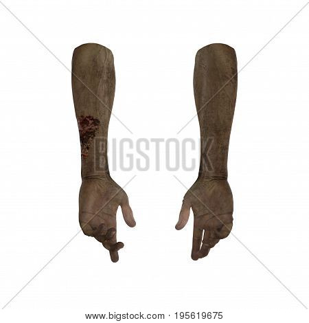 scary zombie hands on white background. 3D illustration