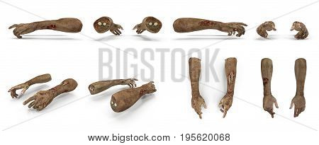 scary zombie hands renders set from different angles on a white background. 3D illustration