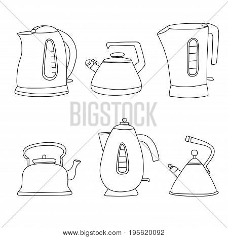 Tea time cartoon set. Vector isolated objects. Pretty teapots in line style