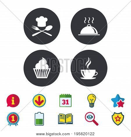 Food and drink icons. Muffin cupcake symbol. Fork and spoon with Chef hat sign. Hot coffee cup. Food platter serving. Calendar, Information and Download signs. Stars, Award and Book icons. Vector