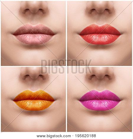 Collage with close-up images of colorful woman lips. Beauty, fashion and make-up concept.