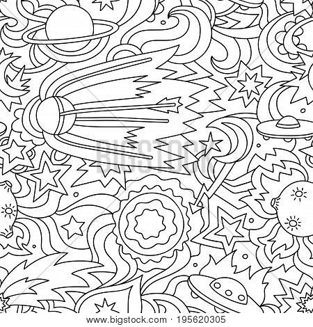 Crazy cartoon seamless pattern with satelite, planets, stars. Vector background on the space theme.