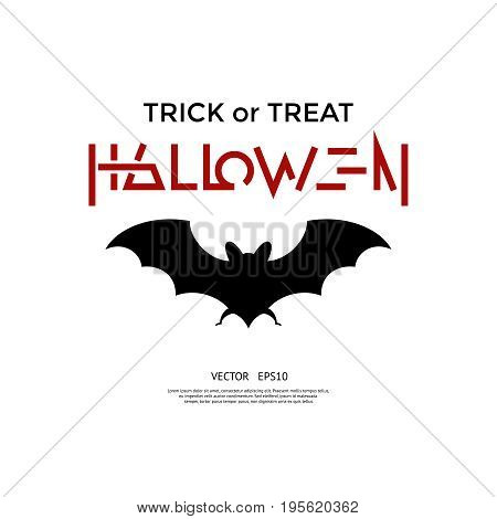 Digital vector red black happy halloween icons with drawn simple line art info graphic, presentation with bat promo template, trick or treat, flat style