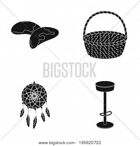 bar, food and other  icon in black style.furniture, traditions icons in set collection.