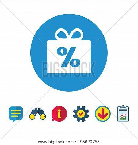 Gift box sign discount icon. Present symbol. Information, Report and Speech bubble signs. Binoculars, Service and Download icons. Vector