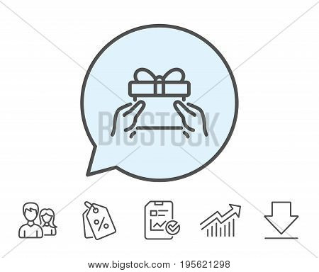 Give a Gift box line icon. Present or Sale sign. Birthday Shopping symbol. Package in Gift Wrap. Report, Sale Coupons and Chart line signs. Download, Group icons. Editable stroke. Vector