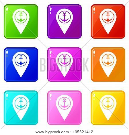 Map pointer with symbol anchor and sea port icons of 9 color set isolated vector illustration