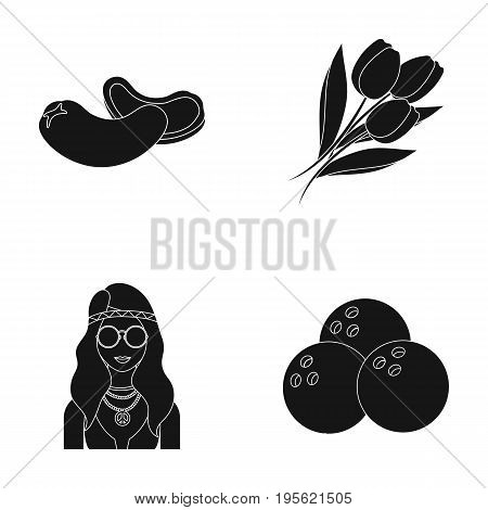Cooking, hippies and other  icon in black style.bouquet, sport icons in set collection.