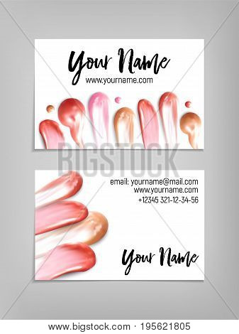 Makeup artist business card. Vector template with lipstick and ip gloss smears. Fashion and beauty background. Template Vector.