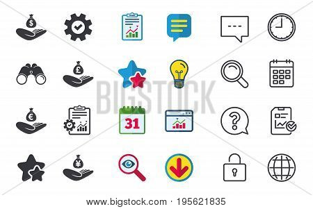 Helping hands icons. Money insurance symbols. Hand holds cash bag in Dollars, Euro, Pounds and Yen signs. Chat, Report and Calendar signs. Stars, Statistics and Download icons. Vector