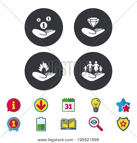 Helping hands icons. Financial money savings, family life insurance symbols. Diamond brilliant sign. Fire protection. Calendar, Information and Download signs. Stars, Award and Book icons. Vector