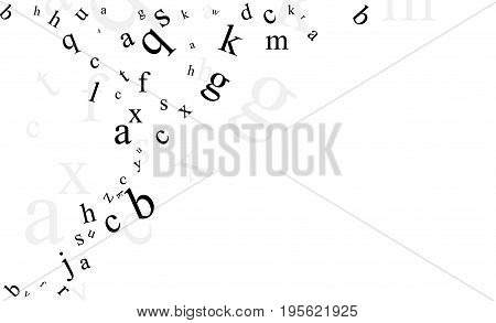 Abstract background with letters. Promotion of reading, publishing and copyright. Alphabet borders.