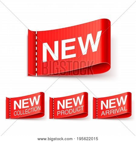 Collection of 4 red new labels isolated on white background