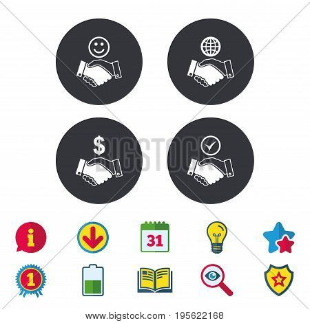 Handshake icons. World, Smile happy face and house building symbol. Dollar cash money. Amicable agreement. Calendar, Information and Download signs. Stars, Award and Book icons. Vector