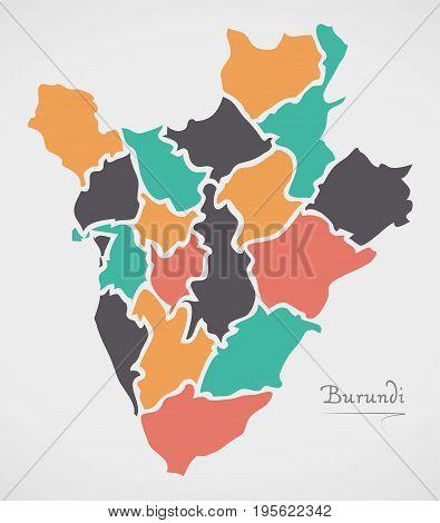 Burundi Map With States And Modern Round Shapes
