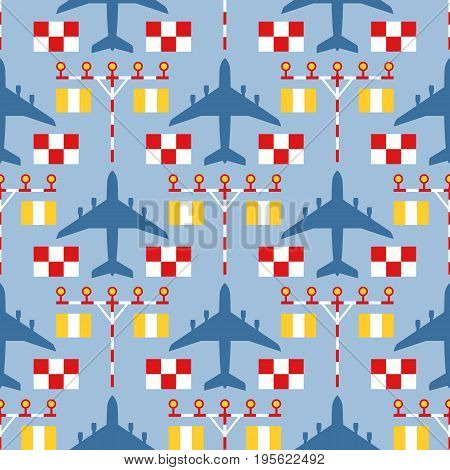 Seamless vector pattern with passenger airplanes, strip lights and signs. Can be used for graphic design, textile design or web design.