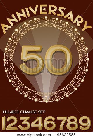 50th anniversary celebration in elegant golden frame. Golden number 50, set of numbers one, two, three, four, six, seven, eight, nine for change. Universal useful for any birthday, vector EPS 10