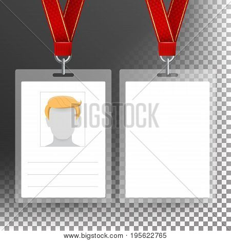 Employee Card Vector Blank. Identification Card Template. White Blank Plastic Id Card. Transparent