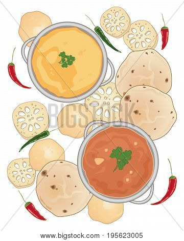 an illustration of types of asian food including breads lotus root and curries with chillies on a white background