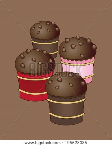 an illustration of some small chocolate buns with chocolate chip decoration on a brown background
