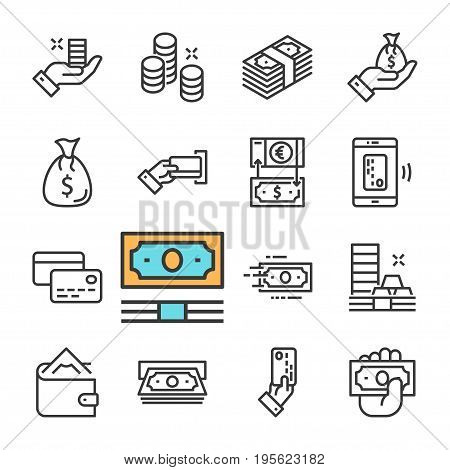 Vector black line Money icons set on white background