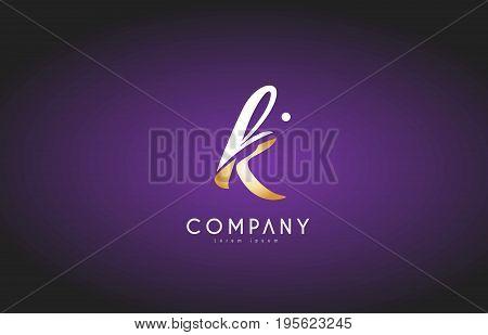 K Alphabet Letter Gold Golden Logo Icon Design