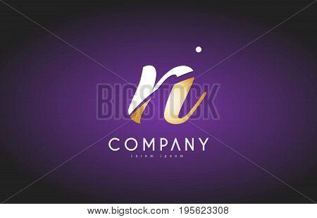N Alphabet Letter Gold Golden Logo Icon Design