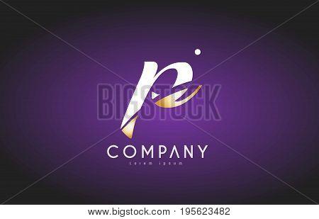 P Alphabet Letter Gold Golden Logo Icon Design