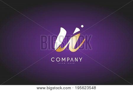 U Alphabet Letter Gold Golden Logo Icon Design