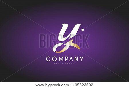 Y Alphabet Letter Gold Golden Logo Icon Design