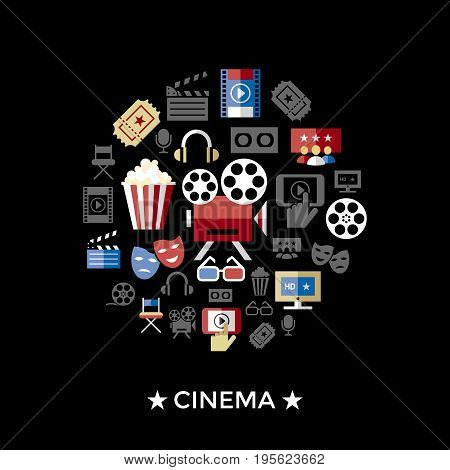 Digital vector red black cinema icons with drawn simple line art info graphic, presentation with screen, movie and old camera elements around promo template, flat style